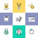 Geschiktheid en de gezonde pictogrammen geplaatste van het voedselpictogram Stock Foto's