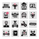 Geschiktheid en gezondheids geplaatste pictogrammen Royalty-vrije Stock Foto's