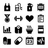 Geschiktheid en Gezondheids geplaatste pictogrammen Stock Foto
