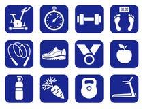 Geschiktheid, gymnastiek, zwart-wit pictogrammen Stock Foto's