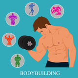 Geschiktheid, het bodybuilding, mens met reeks Pictogrammen Vector illustratie Royalty-vrije Stock Afbeelding