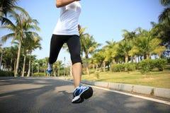 Geschiktheids jogger benen die bij tropisch park lopen Stock Fotografie