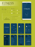 Geschiktheids Mobiel App Materieel Ontwerp UI, UX en GUI Stock Afbeeldingen