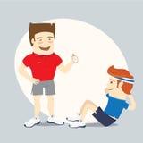 Geschiktheids persoonlijke trainer en grappige sportman die abs training doen Stock Foto