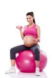 Geschiktheids zwangere dame Royalty-vrije Stock Afbeeldingen