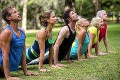 Geschiktheidsklasse het praktizeren yoga royalty-vrije stock foto