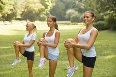 Geschiktheidsklasse Mooie jonge vrouwen die oefening doen bij de zomerpa stock foto