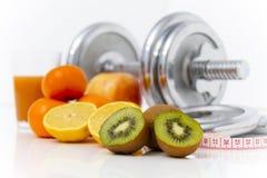 Geschiktheidsmateriaal en gezond voedsel, appel, nectarines, kiwi, lem Royalty-vrije Stock Afbeelding