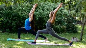 Geschiktheidsmeisjes die yoga in openlucht Virabhadrasana doen stock fotografie