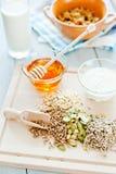 Geschiktheidsontbijt met gezonde muesli en zaden Royalty-vrije Stock Afbeeldingen