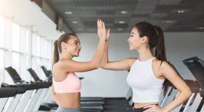 Geschiktheidstrainer en vrouw die hoogte vijf na training geven stock afbeeldingen