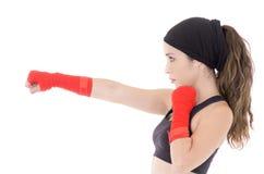 Geschiktheidsvrouw die bokshandschoenen dragen. royalty-vrije stock afbeelding