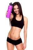 Geschiktheidsvrouw met fles water - Voorraadbeeld Royalty-vrije Stock Fotografie