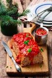 Geschild Gerstbrood met tomatensaus Royalty-vrije Stock Fotografie