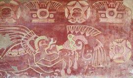 Geschilderd binnenland van tempel in Teotihuacan. Royalty-vrije Stock Afbeeldingen