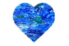 Geschilderd Blauw Abstract Hart Royalty-vrije Stock Afbeelding