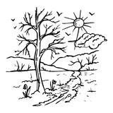 geschilderd die de lentelandschap op witte achtergrond wordt geïsoleerd Royalty-vrije Stock Foto's
