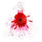 Geschilderd die meisje in een kleding van bloemen wordt gemaakt Stock Afbeelding