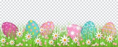 Geschilderd ei in de lentebloemen, Pasen-decoratie royalty-vrije illustratie