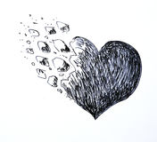 Geschilderd gebroken hart Stock Afbeeldingen