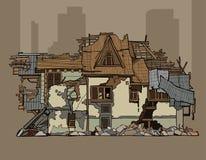 Geschilderd geruïneerd een twee verdieping vergoelijkt huis vector illustratie
