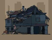 Geschilderd geruïneerd een twee verdiepings donker huis vector illustratie