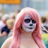 Geschilderd gezicht in Vrolijk Pride Parade Royalty-vrije Stock Foto's