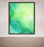 Geschilderd groen waterverfbeeld met houten kader Stock Afbeelding
