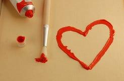 Geschilderd hart Stock Foto's