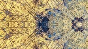 Geschilderd het ontwerp van de Grungestijl geel met blauwe sporen en sporen van roest stock foto