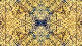 Geschilderd het ontwerp van de Grungestijl geel met blauwe sporen en sporen van roest royalty-vrije stock afbeelding