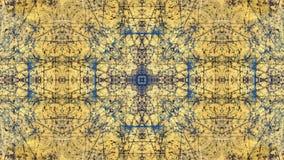 Geschilderd het ontwerp van de Grungestijl geel met blauwe sporen en sporen van roest royalty-vrije stock fotografie