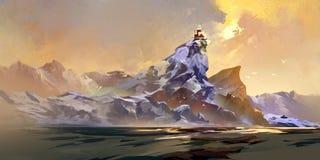 Geschilderd huis in de bergen in het zonlicht royalty-vrije illustratie
