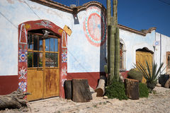 Geschilderd huis in mineraal DE Pozos Mexico royalty-vrije stock fotografie