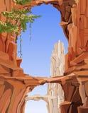 Geschilderd landschap van rotsachtige bergen met bogen en bruggen vector illustratie