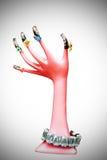 Geschilderd met roze handmodel Stock Foto's