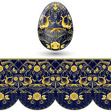 Geschilderd paasei Donkerblauw en gouden naadloos patroon in nationale stijl van het schilderen op porselein Royalty-vrije Stock Afbeeldingen