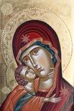 Geschilderd pictogram van Maagdelijk Mary en Jesus Christ Royalty-vrije Stock Foto's