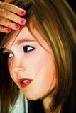 Geschilderd portret van een meisje Stock Afbeeldingen