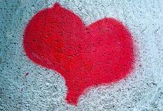 Geschilderd rood hart Stock Afbeelding