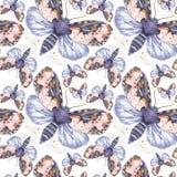 Geschilderd trekkend teddybeer naadloze achtergrond van de waterverf de ruwharige vlinder, heldere kleuring, dik torso, nachtvlin Stock Foto's