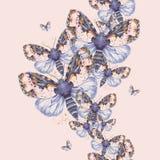 Geschilderd trekkend teddybeer naadloze achtergrond van de waterverf de ruwharige vlinder, heldere kleuring, dik torso, nachtvlin Royalty-vrije Stock Afbeelding