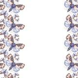 Geschilderd trekkend teddybeer van de waterverf de ruwharige vlinder, heldere kleuring, dik torso, nachtvlinder op witte achtergr Royalty-vrije Stock Foto