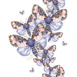 Geschilderd trekkend teddybeer van de waterverf de ruwharige vlinder, heldere kleuring, dik torso, nachtvlinder op witte achtergr Stock Foto's