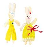 Geschilderd in waterverfstuk speelgoed konijntjes Royalty-vrije Stock Afbeelding