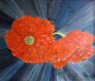 Geschilderde abstracte rode papaversbloemen met blauwe achtergrond vector illustratie