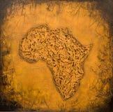 Geschilderde Afrikaanse kaart Royalty-vrije Stock Afbeelding