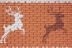 Geschilderde Bakstenen muur Stock Afbeeldingen