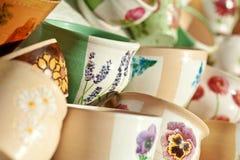Geschilderde ceramische potten Stock Foto