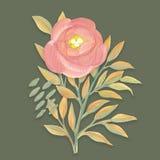 Geschilderde de gouache bloeit en verlaat Bloemenontwerp Royalty-vrije Stock Afbeelding